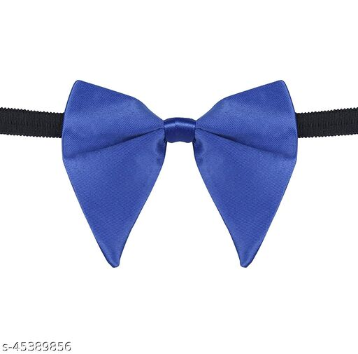 Mens Satin Solid Royal Blue Oversized Adjustable Strap Bow Tie (Royal Blue)