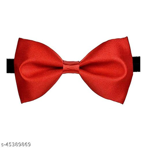 Mens Satin Solid Red Adjustable Strap Bow Tie (Red)