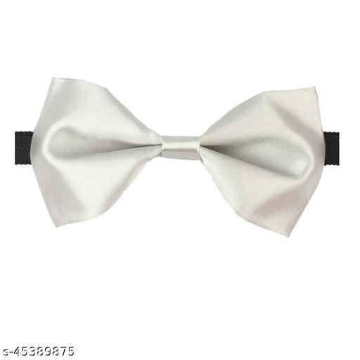 Mens Satin Solid White Adjustable Strap Bow Tie (White)
