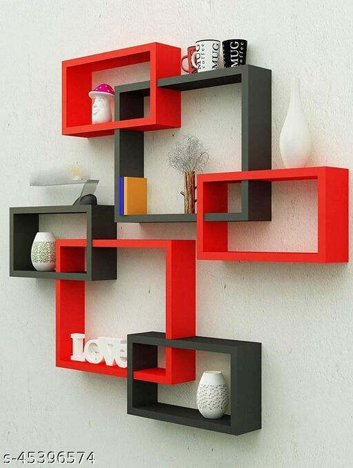 MDF WOODEN INTERLOCK CHAKORI WALL SHELVES WALL DECOR SHELF RACK/FLOATING SHELVES/BOOK SHELF/INTERSECTING DISPLAY STORAGE SHELF FOR WALL MOUNT WITH 6 SHELVES (RED AND BLACK)