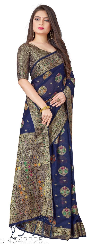 Jacquard Chanderi Cotton Saree-Blue