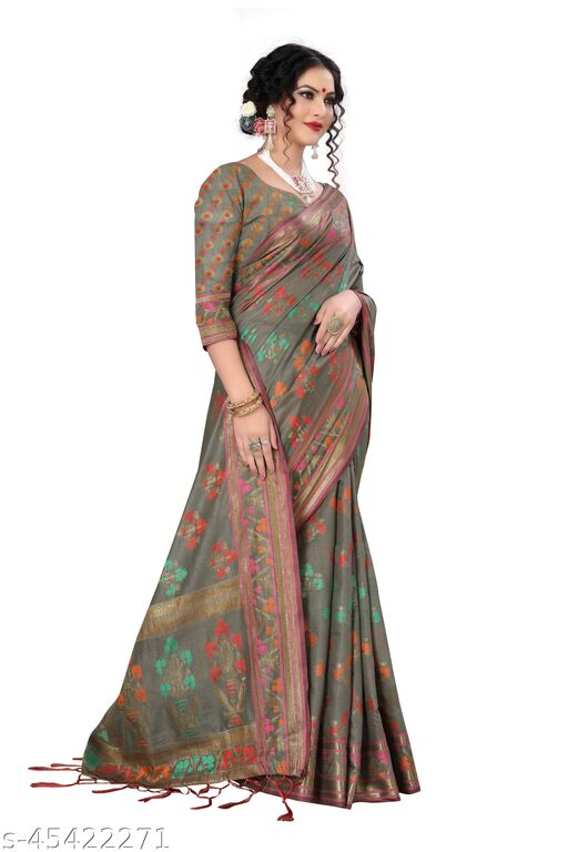 Jacquard Chanderi Cotton Saree - Grey