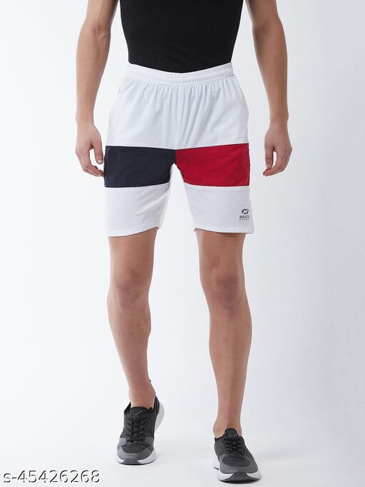 Masch Sports Regular Fit Active Wear White, Navy Blue & Red Mid Rise Sports Shorts