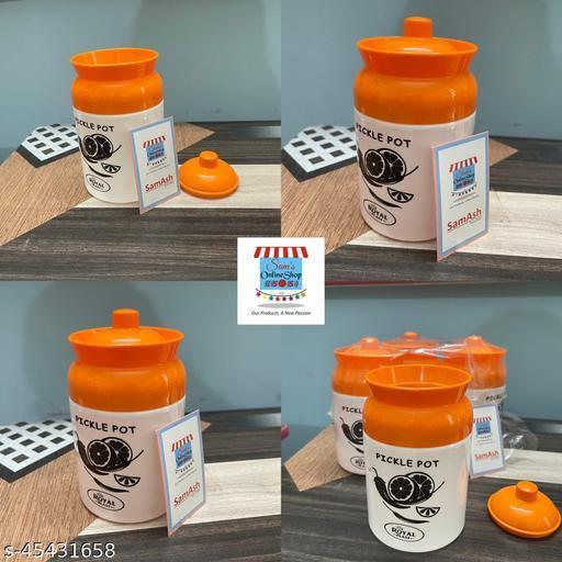SamAsh Pickle Pot Orange and White Pack 4
