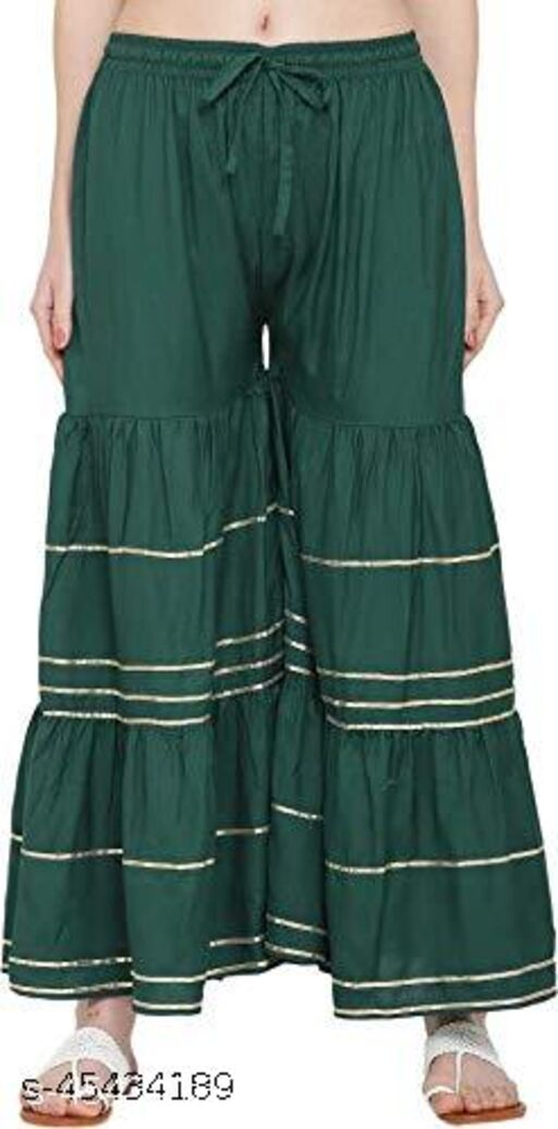 New Women's  Wide Legged Stylish Wear Casual and Festive Purpose Rayon Flared Garara/Sharara Palazzo (Free Size 28 to 40) with Full Waist Elastic Stretches.Single