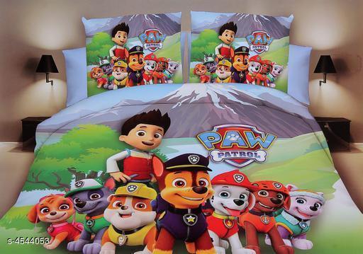 Stylish Cartoon Printed Kid's Double Bedsheets