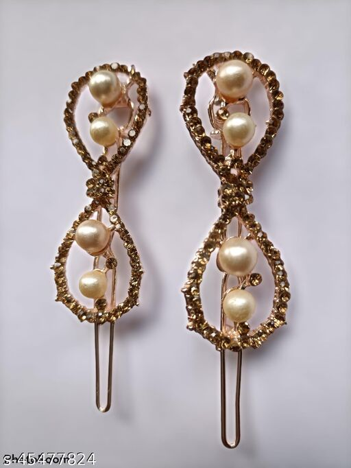 Kord Store Fabulous Rose Gold Plated Stone and Pearl Hair Clip/Hair Pin For Girls and Women