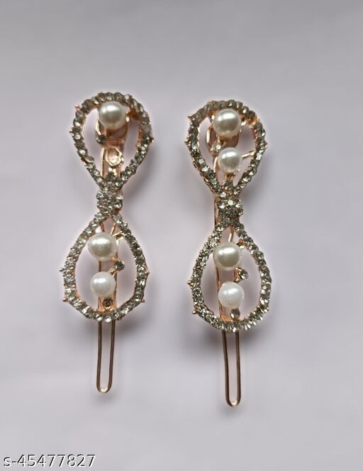 Kord Store Fancy Rose Gold Plated Stone and Pearl Hair Clip/Hair Pin For Girls and Women