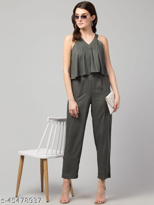 Grey-Green Solid Basic Jumpsuit