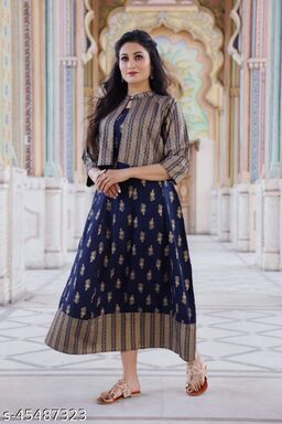 Rayon Anarkali Dress Long Flared Kurti With Dectachable Jacket and Side Tusssels Embellished With Gold Prin