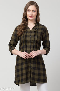 Women's Checked Green Rayon Top
