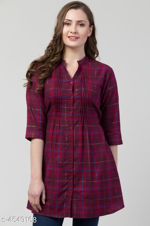 Women's Checked Dark Multicolour Cotton Top
