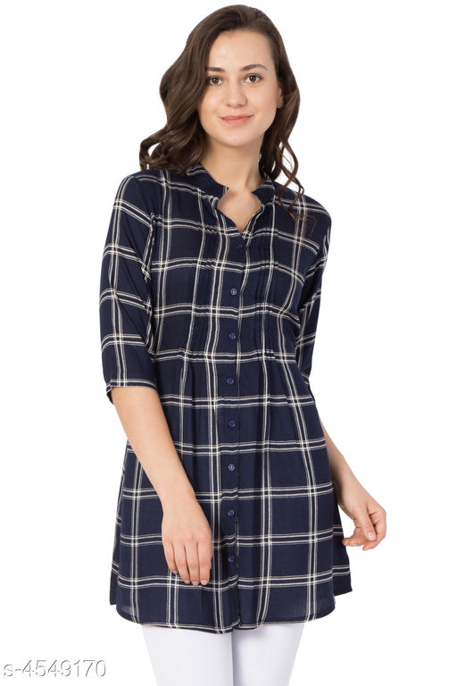 Women's Checked Navy Blue Rayon Top