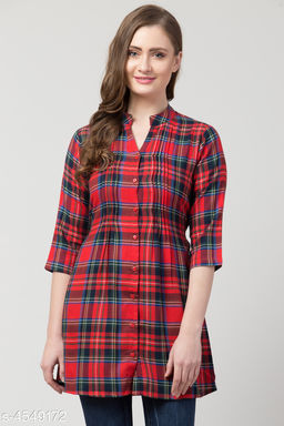 Women's Checked Red Cotton Top