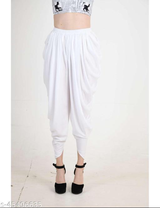 Deollz Fashion's High Quality Rayon White Colour Dhoti for Women & Girls