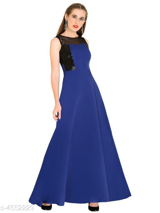 Women's Solid Navy Blue Crepe Dress
