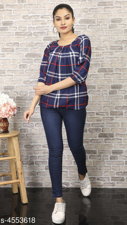 Women's Checked Blue Crepe Top