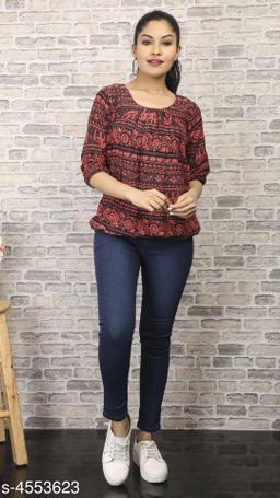Women's Printed Black Crepe Top