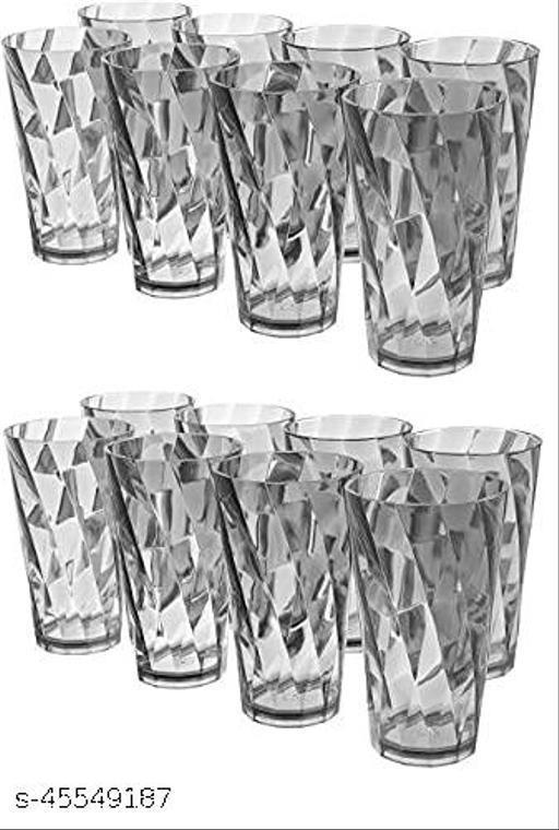 (Pack of 16) Twisted Shape Plastic Water Glasses 16 Pcs Plastic Unbreakable Stylish Transparent Water Glass/Juice Glass/Beer Glass/Wine Glass Plastic Glass Set Glass Set(300 ml, Plastic)