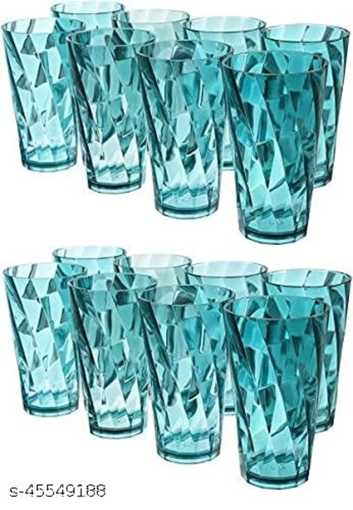 Twister Plastic Unbreakable Glass Set (300 ml, Sky Blue) - Pack of 16