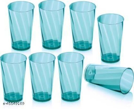 Twisted Shape Plastic Water Glasses 8 Pcs Plastic Unbreakable Stylish Transparent Water Glass/Juice Glass/Beer Glass