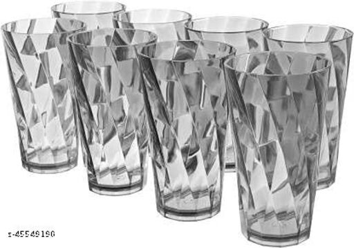 (Pack of 8) TWISTED Shape Transparent Water Juice Unbreakable Plastic Glass Glass Set(300 ml, Plastic)