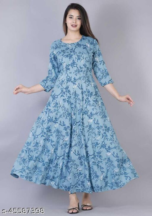 Shopping King Store Anarkali Printed Trendy gown
