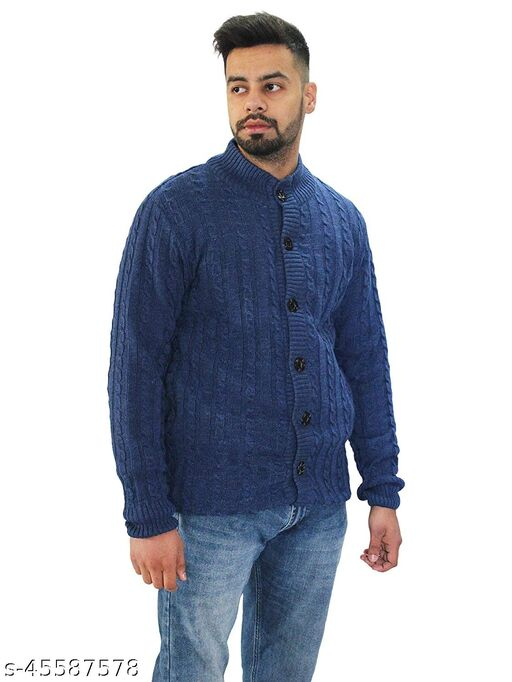 Stylish Buttoned Hi Neck Sweater for Winters-Grey