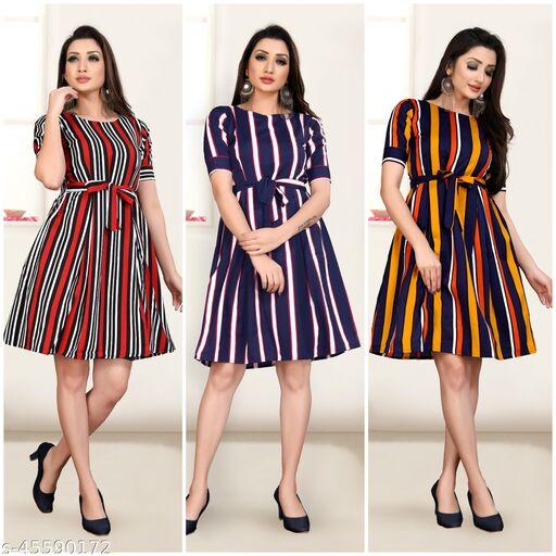 3 Pieces Combo Women Trendy Different Disign And Pattern  Dress