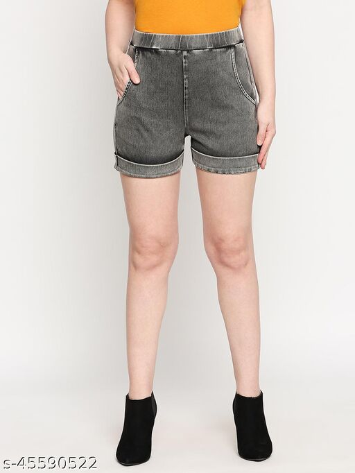 inocenCia Black Grey Stretchable Denim Wash Cotton Blended Knitted Shorts for Women