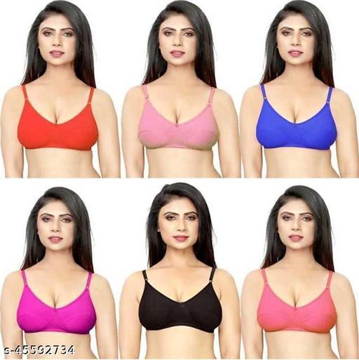 Women Trendy Full Coverage Non Padded Dark Bra pack of 6   (Multicolor)