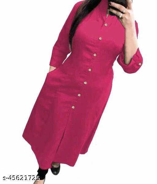 Rani Colore A-Line Magic Slub Cotton Selfi Kurti with Beautiful Wooden Button