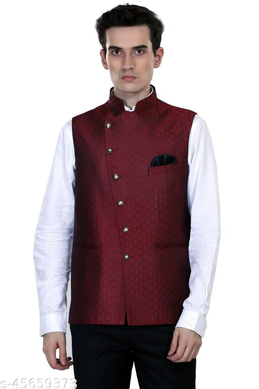Touch King Front Open Waist Coat Jacket (Color-Maroon) Available in 6 Size