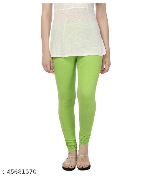 MAKSTILE Parrot Green Color Churidar Legging for Women/Girls/Ladies   Free Size Cotton Lycra Leggings   Women's Leggings - Length 42 Inches