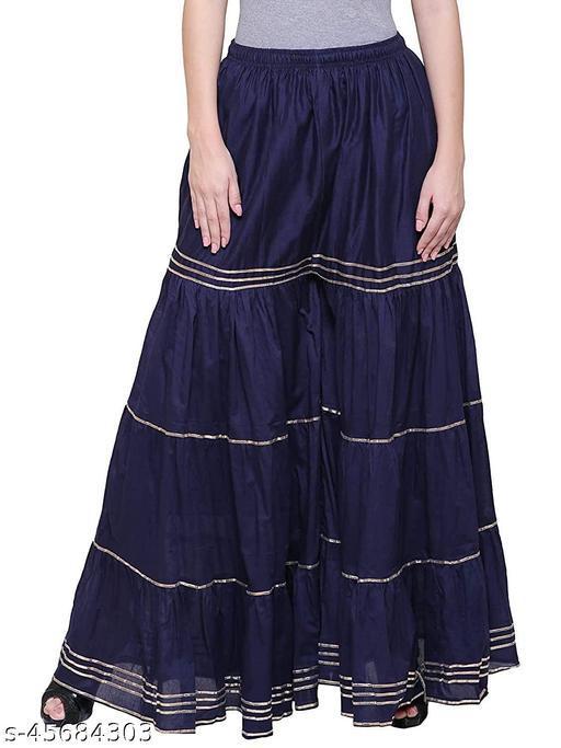 Apna store Women's Loose Fit/Flared Indo-Western Navy Blue Rayon Sharara/Garara