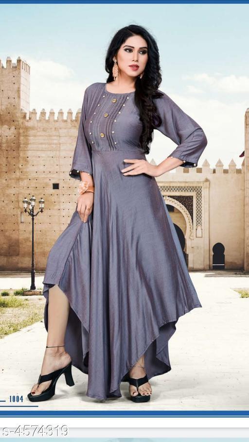 Stylish Muslin Solid Women's Gown