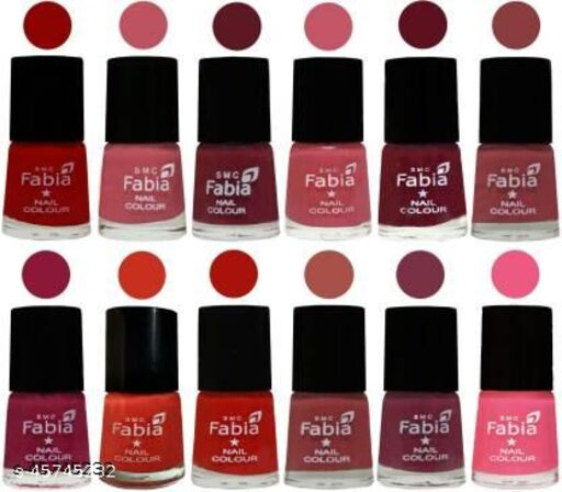 Fabia Matte Nail Polish Pack of 12 Multicolor 6 ml Beauty Collection 11