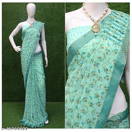 Fashion Lust Floral Printed Georgette Saree With Running Blouse