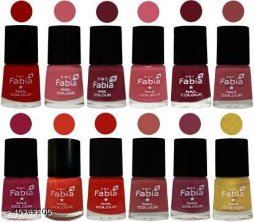 Fabia Matte Nail Polish Pack of 12 Multicolor 6 ml Beauty Collection 12