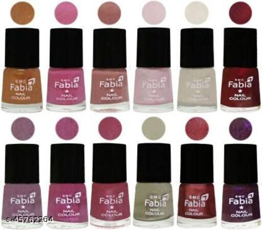 Fabia Matte Nail Polish Pack of 12 Multicolor 6 ml Beauty Collection 58
