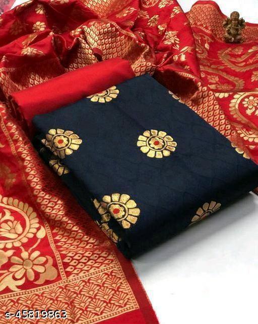 Women Trendy Banarasi Silk Dress Material