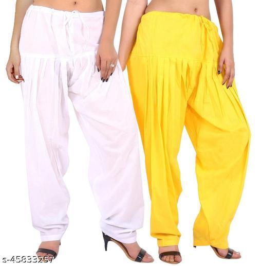 Women's Cotton Patiala Salwar Free Size Set of 2 - White,Yellow