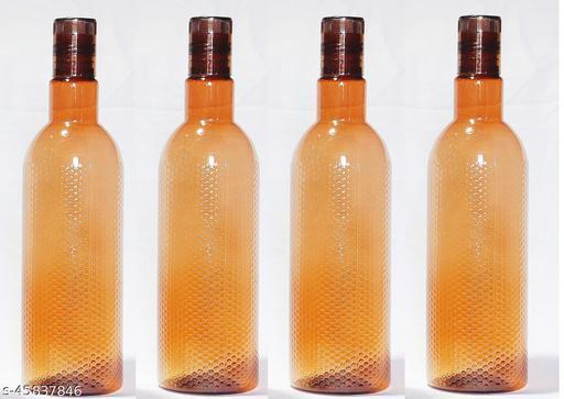 WLOX Brown Plastic Fridge Bottle Set Of 4 1000ML