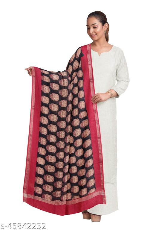 TIKULI Women's Royal Blue Printed Cotton Dupatta