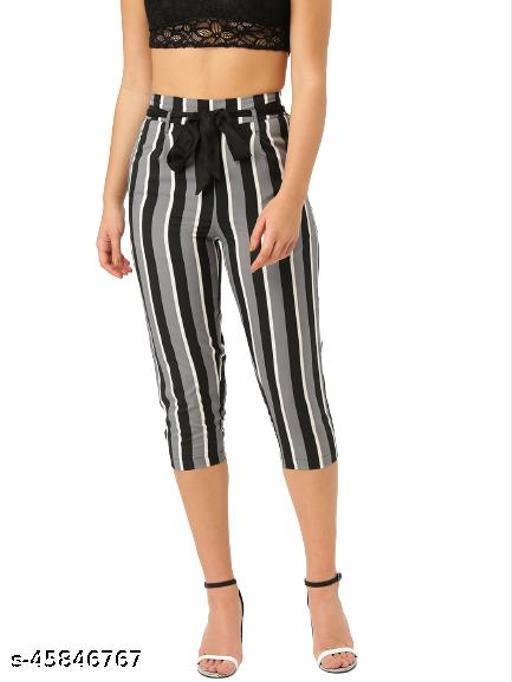 Style Quotient Women Grey & Black Smart Regular Fit Capris