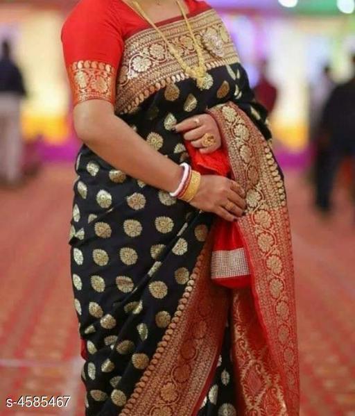 Women's Soft  Banarasi Silk Weaving Black Saree