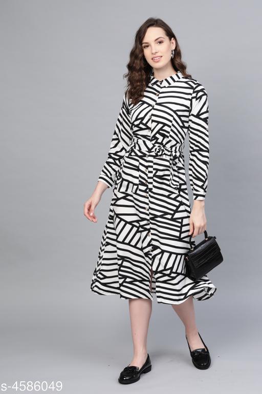 Women's Printed White Polyester Dress