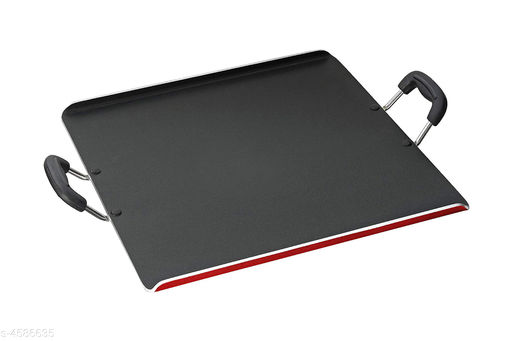 PATHRI TAWA 4mm Nonstick 30cm x 35cm Dia. Large Rectangle, Multipurpose DOSA TAWA (12x14 inch) Red/Black