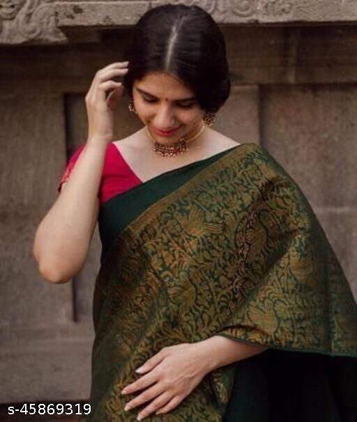 Festive Gorgeous Women's Shubh Soft Raw Silk Sraee With Blouse ( GREEN )