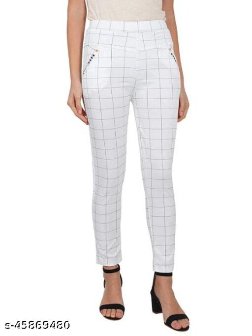 The Indian Choice Regular Fit Women White Polyester Blend Trousers